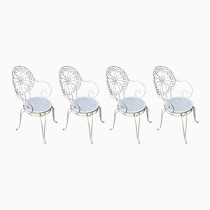 Italian Iron Garden Chairs, 1940s, Set of 4