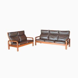 Juego de sofás de dos y tres plazas danés de teca y cuero de L. Olsen & Søn, años 60