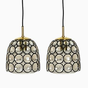 Glass Pendant Lamps from Limburg, 1960s, Set of 2