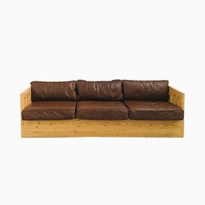 Sofá vintage de cuero y madera, años 70