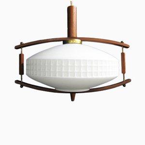 Mid-Century Glass, Teak & Brass Pendant Lamp