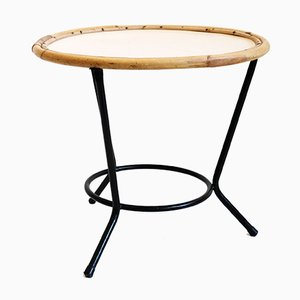 Vintage Metal and Rattan Coffee Table