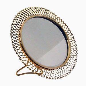 Espejo de mesa francés Mid-Century de latón, años 50