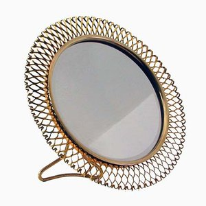 Mid-Century French Brass Table Mirror, 1950s