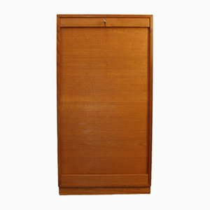 Vintage Danish Teak Filing Cabinet with Tambour Door, 1960s