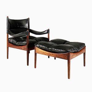 Dänischer Modus Sessel & Fußhocker von Kristian Vedel für Søren Willadsen Møbelfabrik, 1960er