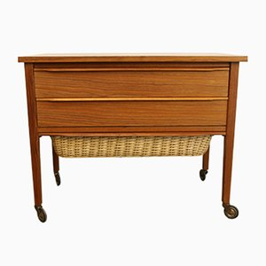 Vintage Danish Teak Sewing Trolley, 1960s