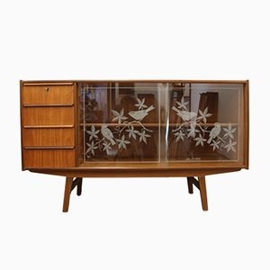 Vintage Danish Teak Sideboard with Glass Doors, 1950s