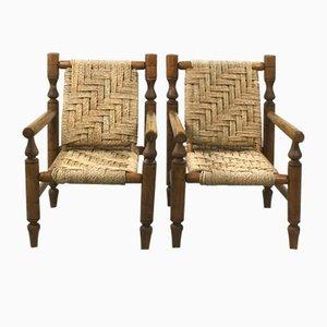 Armlehnstühle aus Holz & Seil, 1950er, 2er Set