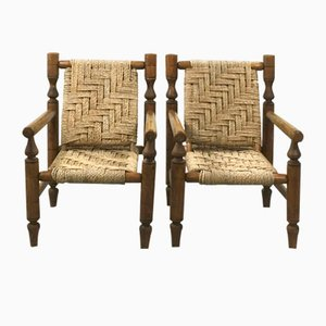 Wood & Rope Armchairs, 1950s, Set of 2