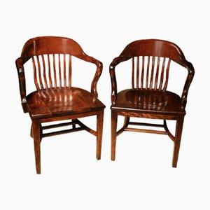 Antike Bürostühle aus Mahagoni, 2er Set