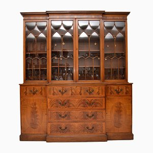 Georgian Style Breakfront Mahogany Secretaire Bookcase, 1950s