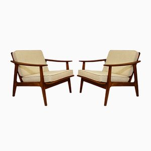 Mid-Century Beige Armchairs, Set of 2