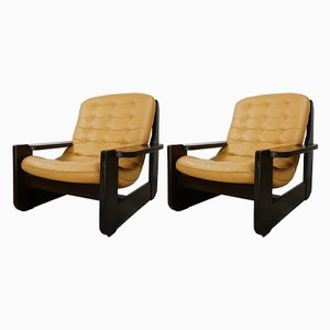 Oak & Leather Lounge Chairs, 1960s, Set of 2