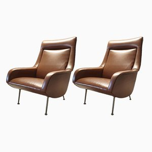 Italian Lounge Chairs by Carlo de Carli for Cassina, 1950s, Set of 2