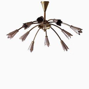 Lámpara de araña francesa Mid-Century de latón y acero de Maison Lunel, años 50
