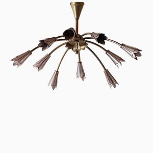 Mid-Century French Brass & Steel Chandelier by Maison Lunel, 1950s