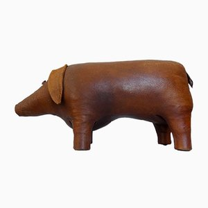 Leather Pig Ottoman by Dimitri Omersa, 1960s