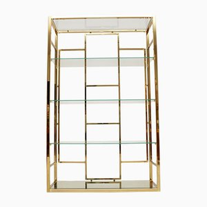 Vintage Italian Brass Display Cabinet, 1970s