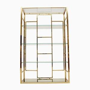 Vintage Italian Brass Display Cabinet, 1970s