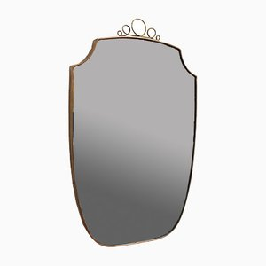Mid-Century Italian Brass Frame Wall Mirror, 1950s
