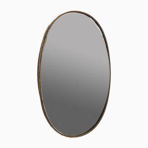 Mid-Century Oval Italian Brass Frame Mirror, circa 1950s