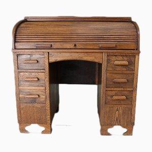 Antiker Schreibtisch aus Eiche mit Rolltür