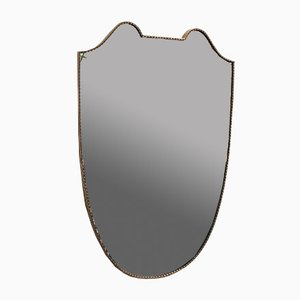 Large Mid-Century Italian Crest-Shaped Wall Mirror with Brass Frame, 1950s