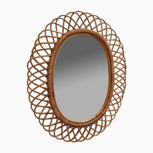 Italian Rattan Wall Mirror, 1960s