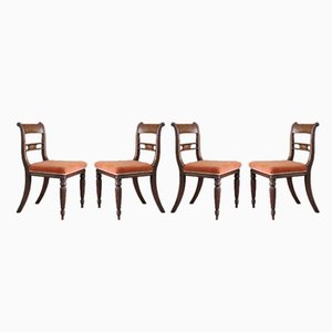 Antique Mahogany Bar Back Dining Chairs, Set of 4
