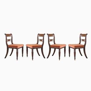 Chaises de Salon Antiques en Acajou, Set de 4
