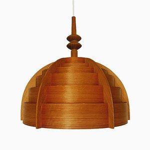 Lámpara colgante de madera de Hans Agne Jakobsson para AB Ellysett Markaryd, años 60
