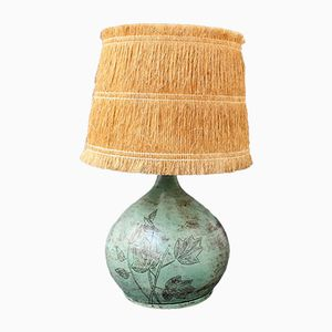 Ceramic Table Lamp with Raffia Lampshade by Jacques Blin, 1950s