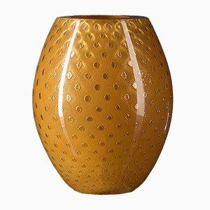 Jarrón italiano ovalado de cristal de Murano naranja y dorado de Marco Segantin para VGnewtrend