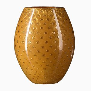 Vaso ovale in vetro di Murano dorato ed arancione di Marco Segantin per VGnewtrend
