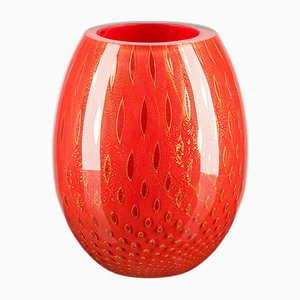 Oval Gold & Red Mocenigo Vase by Marco Segantin for VGnewtrend