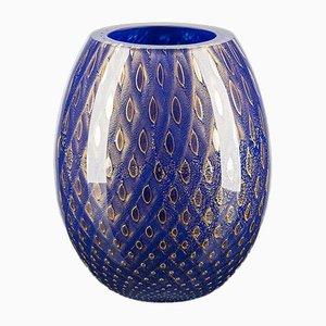 Jarrón Mocenigo ovalado ovalado de cristal dorado y azul de Marco Segantin para VGnewtrend