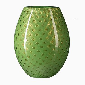 Oval Gold & Green Mocenigo Vase by Marco Segantin for VGnewtrend