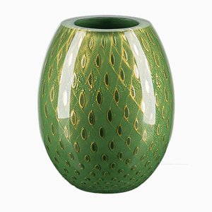 Italian Oval Dark Green & Gold Vase by Marco Segantin for VGnewtrend