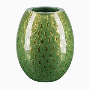 Italian Oval Dark Green & Gold Vase by Marco Segantin for VGnewtrend