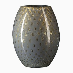 Oval Gold & Light Grey Murano Glass Mocenigo Vase by Marco Segantin for VGnewtrend