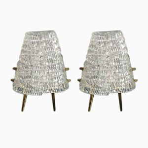 Frosted Glass Table Lamps from Kalmar, 1950s, Set of 2