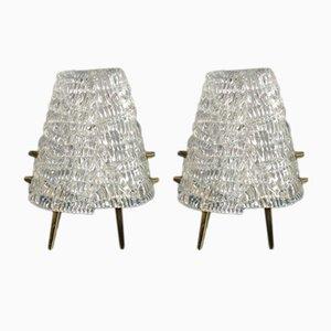 Lámparas de mesa de vidrio esmerilado de Kalmar, años 50. Juego de 2