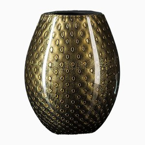 Oval Gold & Black Mocenigo Vase by Marco Segantin for VGnewtrend