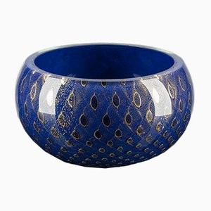 Gold & Blue Italian Murano Glass Mocenigo Bowl by Marco Segantin for VGnewtrend