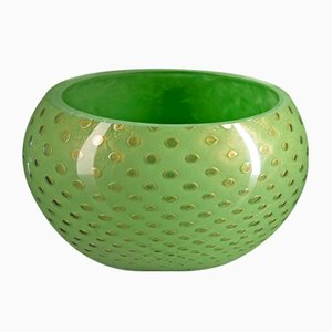 Gold & Green Murano Glass Mocenigo Bowl by Marco Segantin for VGnewtrend