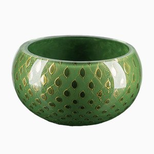Dark Green & Gold Murano Glass Mocenigo Bowl by Marco Segantin for VGnewtrend