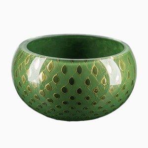 Dark Green & Gold Murano Glass Mocenigo Bowl by Marco Segantin for VGnewtrend