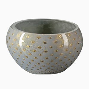 Gold & Light Grey Italian Murano Glass Mocenigo Bowl by Marco Segantin for VGnewtrend
