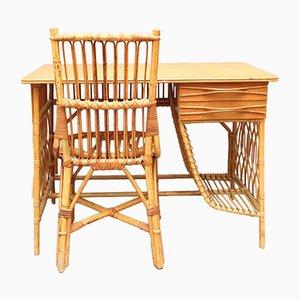 Schreibtisch & Stuhl aus Rattan von Louis Sognot, 1950er